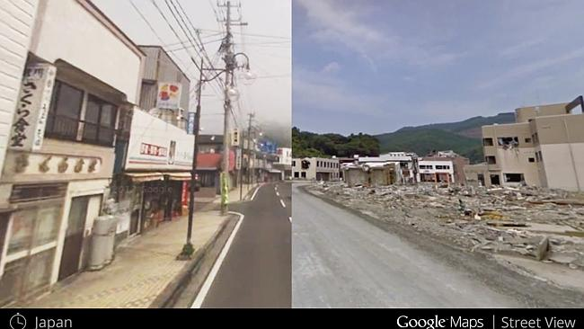 A neighbourhood in Japan looked like in July, left, and in August 2011, after a major earthquake hit, right.