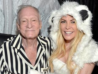 Hugh Hefner and wife Crystal. Picture: Getty Images
