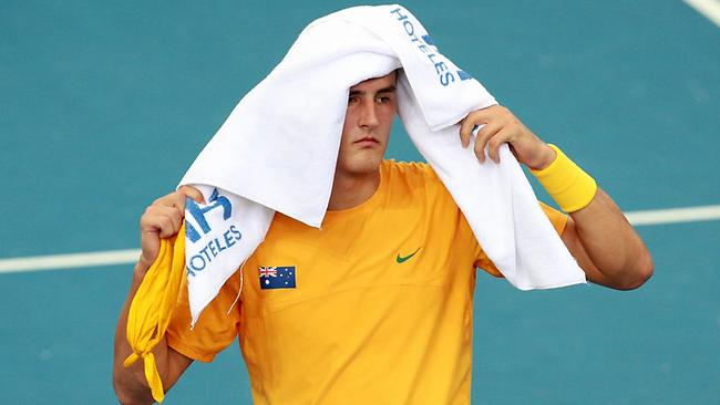 SPORT. BCM. 8/4/12. Bernard Tomic of Australia during the Davis Cup match between Bernard Tomic of Australia and Jung-Woong Na of Korea. Pic Darren England. Picture: Darren England