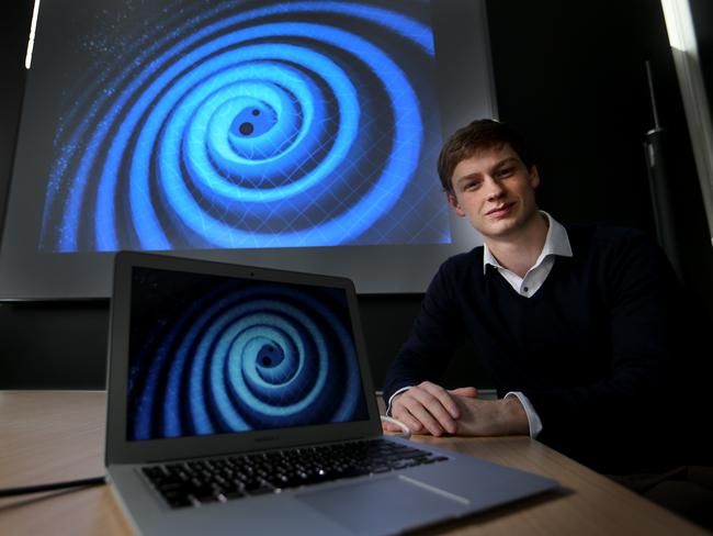 Chris Whittle is an honours physics student at Monash Uni who has been involved in the detection of gravitational waves — considered the scientific breakthrough of the century. Picture: The Australian