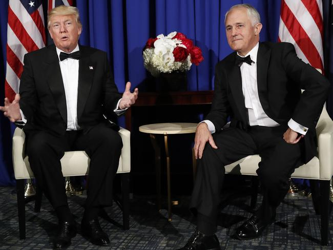 Mr Trump and Mr Turnbull pictured in New York in May, have both strongly condemned North Korea's missile tests. Picture: Pablo Martinez Monsivais/AP