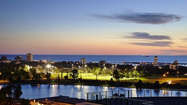 The view over Albert Park Lake from rooftop penthouse 1702/568 St Kilda Rd Melbourne.