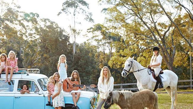 Collette Dinnigan and her family at their county retreat on NSW's south coast. Photo: Hugh Stewart. Styling: Kelly Hume.