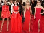 Firey red ... Karolina Kurkova, Allison Williams, Gigi Hadid and Reese Witherspoon hit the Met Gala red carpet in rouge. Pictures: Getty