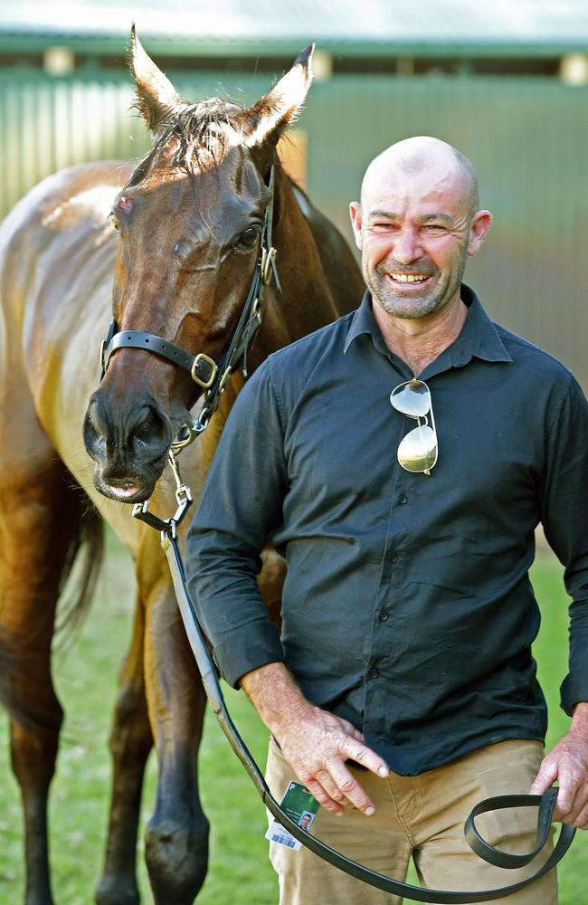Proud Murray Bridge trainer Grant Young with his grand stayer Spying On You. Picture: Tom Huntley