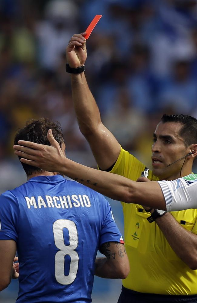 Italy's Claudio Marchisio, left, is sent off.