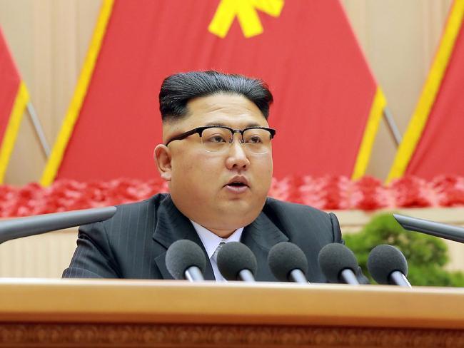North Korean leader Kim Jong-un delivers a speech in Pyongyang. Picture: AFP/ KCNA via KNS