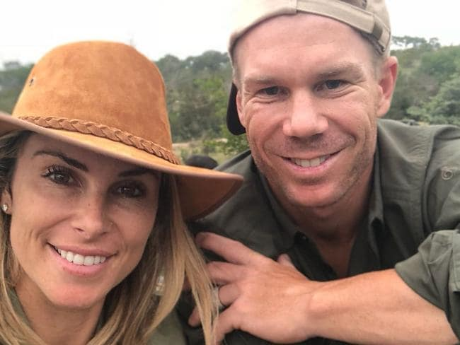 David and Candice Warner in South Africa.