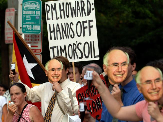 The dispute goes way back, however. Here protesters outside the US Chamber of Commerce in 2005 voice their concerns over Australia's treatment of East Timor in regard to its oil.