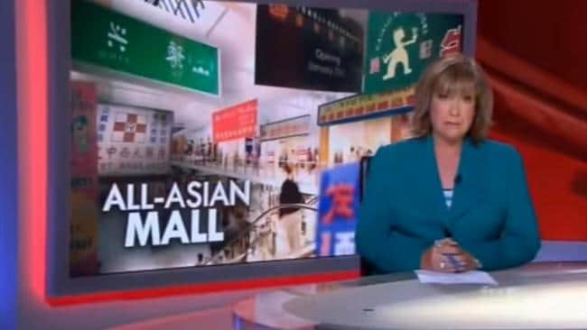 Tracy Grimshaw presents Ben McCormack's 'All-Asian Mall' story in 2012. The report turned out to be inaccurate.