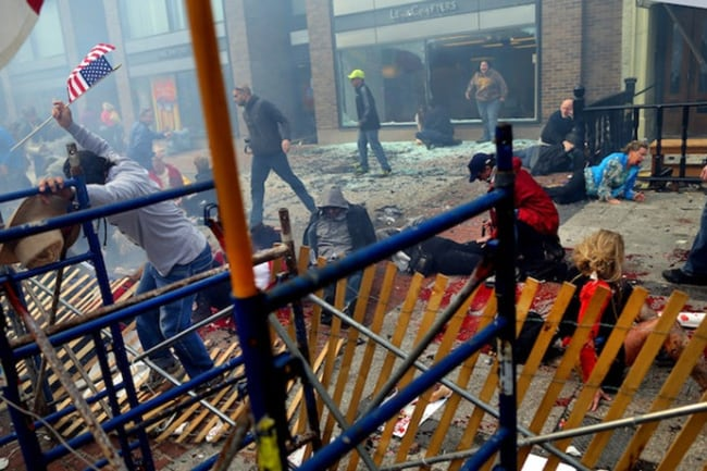 Victims lie injured in the horrific aftermath of the Boston Marathon explosion. Picture: Twitter