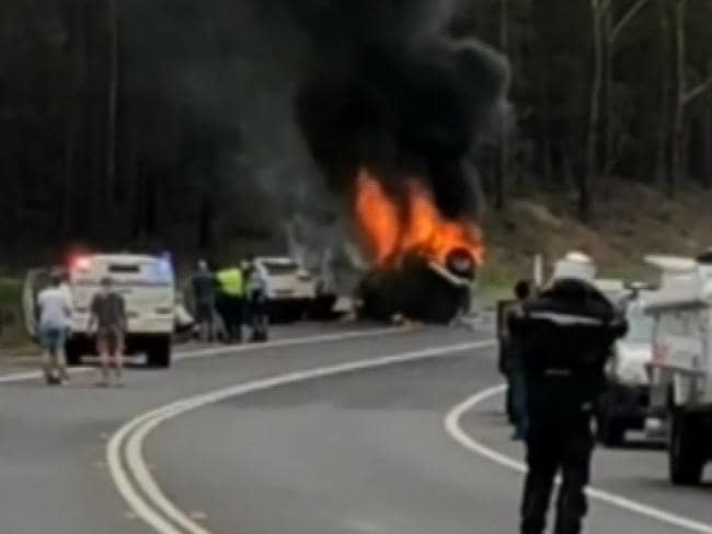 Princes Highway Crash: Three people were killed in the fiery crash at Mondayong between Sussex Inlet and Bendalong. Two cars, one towing a caravan, collided near Bendalong Road. Picture: Nine News