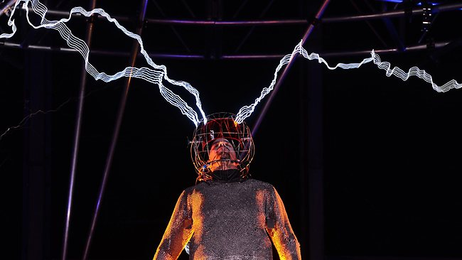 David Blaine, the US magician, stuntman and all-round daredevil,stood for three days and nights in the middle of a million volts of fiery electric currents. Picture: Emmanuel Dunand