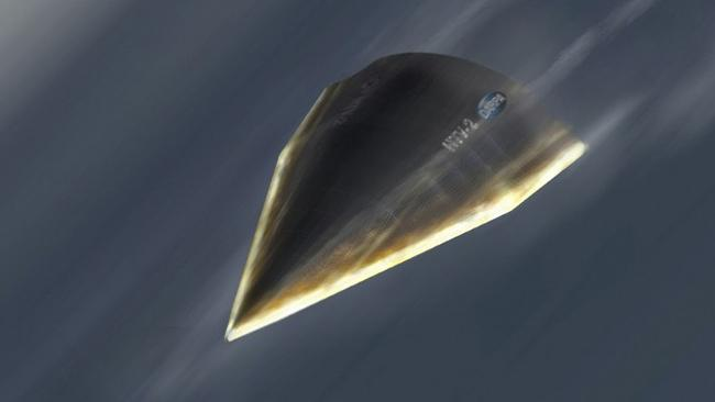 This artist's rendering, provided by the Defense Advanced Research Projects Agency (DARPA), shows a Hypersonic Technology Vehicle. Picture: AFP