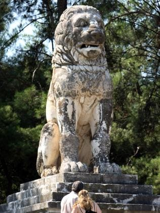 Missing link ... This lion may have once sat atop the tomb. Source: AFP