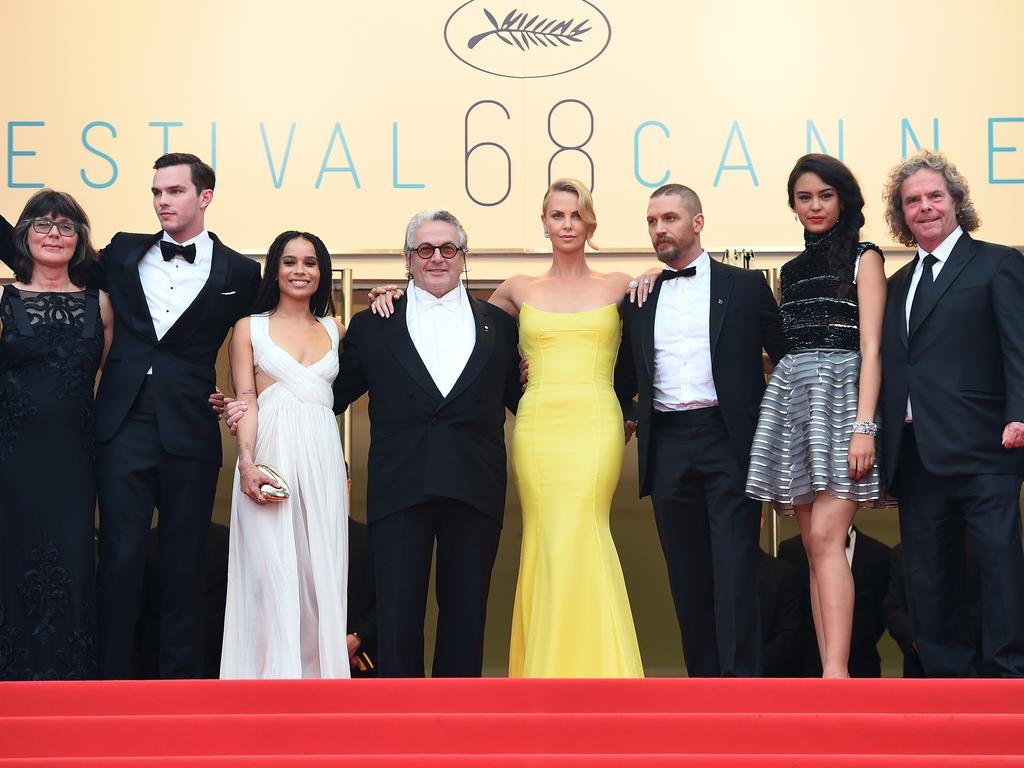 """Australian editor Margaret Sixel, Nicholas Hoult, Zoe Kravitz, Australian director George Miller, Charlize Theron, Tom Hardy, Australian actress Courtney Eaton and producer Doug Mitchell pose as they arrive for the screening of the film """"Mad Max : Fury Road"""". Picture: AFP"""