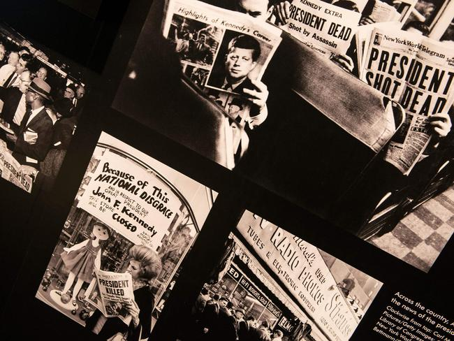 Historical newspapers about the assassination of the former US president on display at an exhibit at the Newseum in Washington, DC. Picture: Brendan Smialowski/AFP
