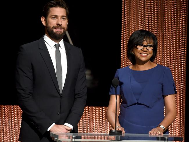 Time for change ... Actor John Kransinki with President of the Academy of Motion Picture Arts and Sciences Cheryl Boone Isaacs during the 88th Oscars nominations announcement. Picture: Kevin Winter/Getty Images