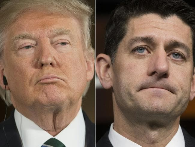 US President Donald Trump is yet to comment on Paul Ryan's roast. Picture: AFP