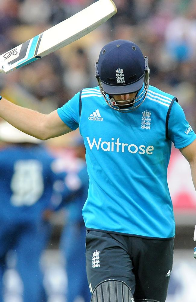 A disgusted Jos Buttler trudges off after his dismissal.