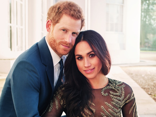 Prince Harry and Meghan Markle pose for their official engagement photos at Frogmore House in Windsor. Photo: Alexi Lubomirski / Getty