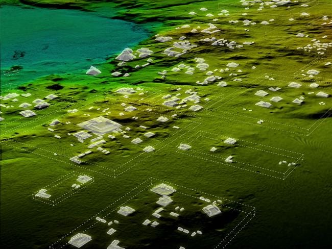 Maya structures are scattered across the jungle in this LiDAR image taken over northern Guatemala. Picture: National Geographic