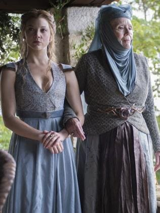 Diana Rigg in Game of Thrones with her co-star Natalie Dormer. Picture: Macall B. Polay