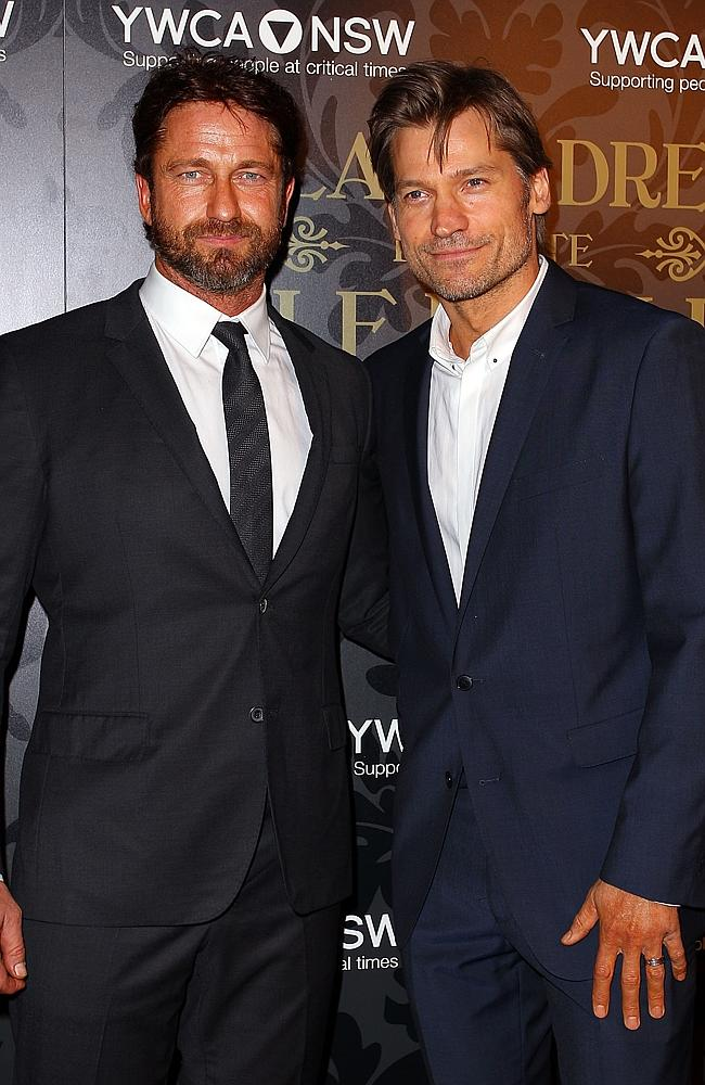 Gerard Butler and Nikolaj Coster-Waldau at an event in Sydney this month.