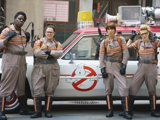 Ghostbusters is in cinemas these school holidays. FOR SUNDAY TELEGRAPH SCHOOL HOLIDAY GUIDE 26/6/16 Ghostbuster's Patty Tolan (Leslie Jones), Abby Yates (Melissa McCarthy), Erin Gilbert (Kristen Wiig) and Jillian Holtzmann (Kate McKinnon) in Columbia Pictures' GHOSTBUSTERS.