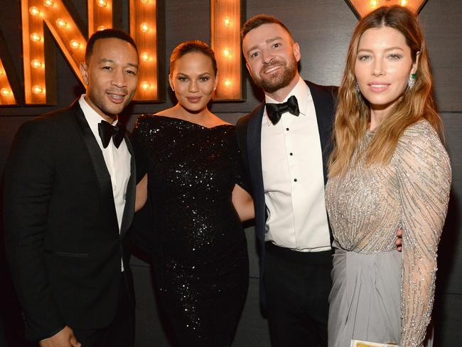 John Legend, Chrissy Teigen, Justin Timberlake and Jessica Biel attend the 2016 Vanity Fair Oscar Party. Picture: Kevin Mazur/VF16/WireImage