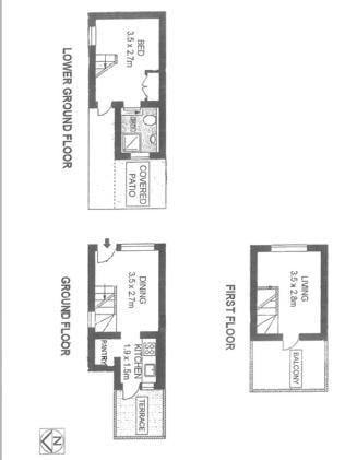 Floorplans for 21 Little Riley St, Surry Hills. With three levels this house has two living areas and even three outdoor nooks.
