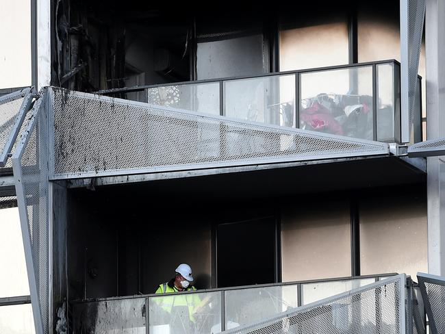During the Docklands building fire, it took just eight minutes for flames to spread to the 21st floor. Picture: Nicole Garmston