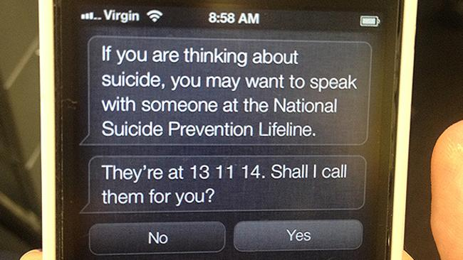 Siri is now providing listings for mental health services.