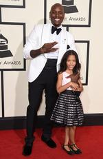 Tyrese Gibson, left, and Shayla Gibson arrive at the 58th annual Grammy Awards. Picture: AP