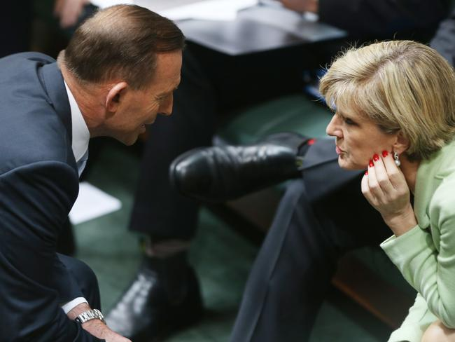 Tony Abbott and Julie Bishop at centre of leadership speculation. Picture: Gary Ramage
