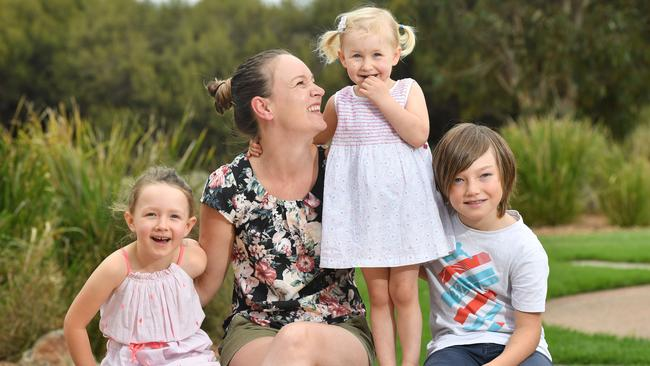 Lauren Horseling with Aaliyah, Isla and Kobi. Picture: AAP / Keryn Stevens
