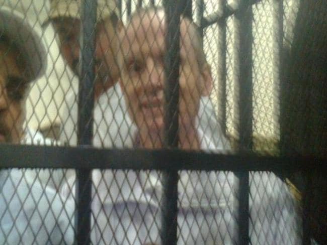 Alisdare Hickson in a cell at Cairo's Tora prison, where Australian journalist Peter Greste was also imprisoned. Picture: Alisdare Hickson