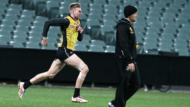 Jackson Trengove working with Darren Burgess. Picture: Sarah Reed