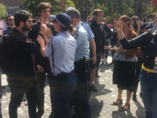 The protest at the University of Sydney. Picture: Twitter: @therockrit