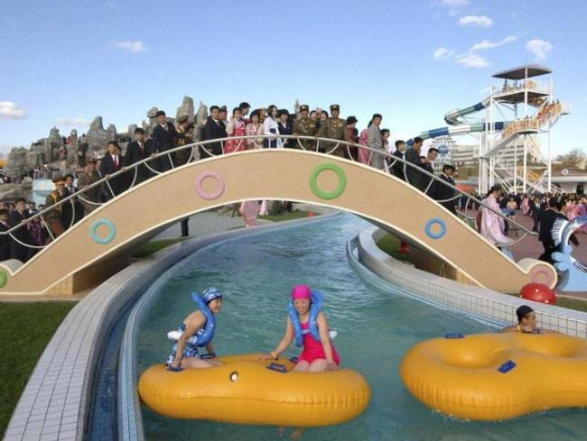 See North Koreans do have fun. At least these people using the Munsu Water Park in Pyongyang are, as the government looks to show the west it is vibrant and its people peaceful.