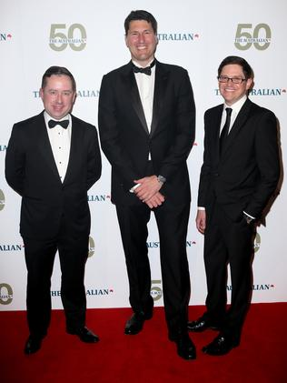 Showing support ... Qantas CEO Alan Joyce, former Wallaby captain John Eales and Clive Mathieson. Picture : Richard Dobson