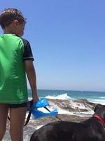 A boy and his dog at Snapper Rocks, tweeted by AlexTilbury.