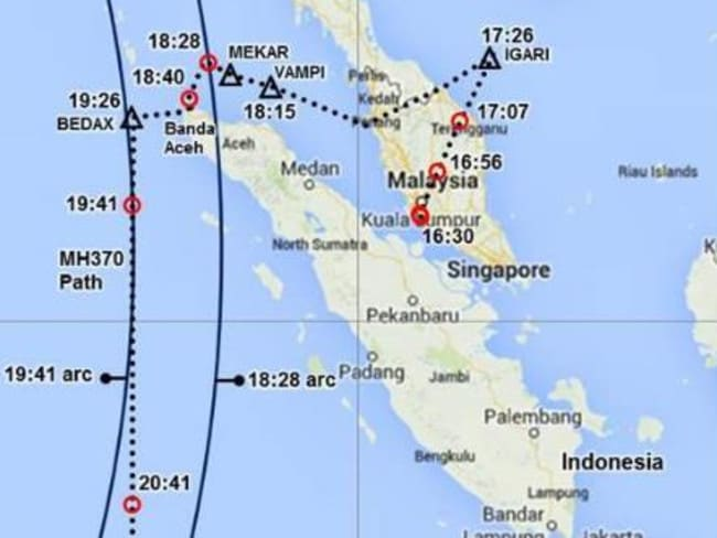 A map showing the estimated flight path of MH370 based on radar data. Note the IGARI point. Graphic Victor Iannello