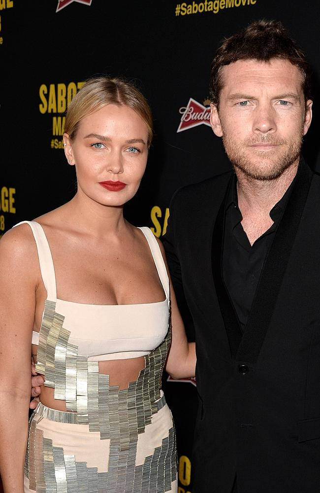 Sam Worthington and Lara Bingle at the LA premiere of Sabotage in March. Source: Getty Images