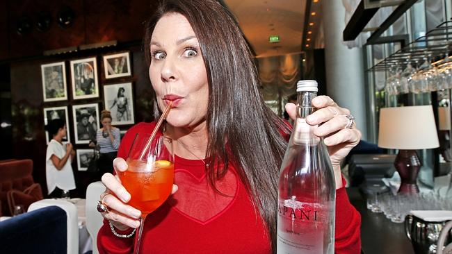 Channel 9's post-Logies brunch. Julia Morris keeping hydrated. Picture: David Caird.