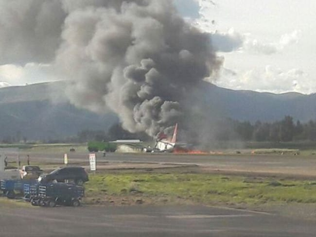 A social media picture of Peruvian Airlines crash in Peru today. Picture: Twitter/@AOC — Security