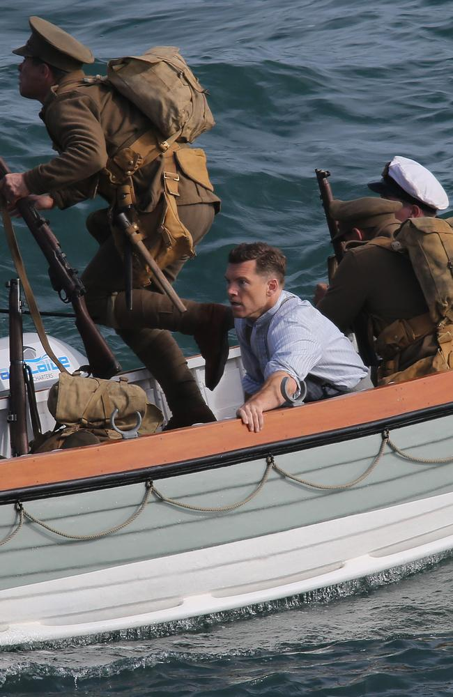 Sam Worthington in a scene from the shooting at Port Noarlunga. Picture: Dylan Coker