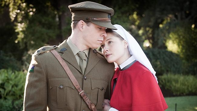 Re-enacting war ... Todd Lasance and Laura Brent in a scene from ABC drama Anzac Girls. P