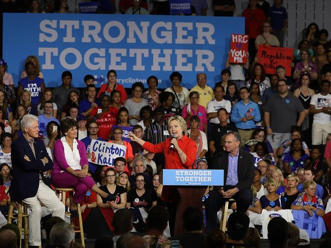 Democratic presidential nominee former Secretary of State Hillary Clinton is getting on with the campaign despite being hit by hacks. Picture: AFP