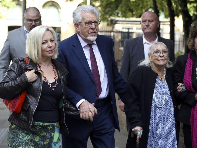 Family support ... Rolf Harris arrives at Southwark Crown Court with daughter Bindi (left) and wife Alwen.